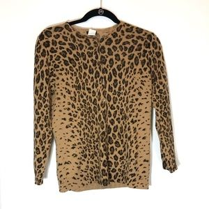 J. Crew Leopard 3/4 Sleeve 100% Wool Cardigan med